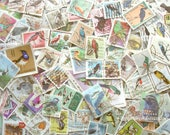 20 x birds, postage stamps packet | modern + vintage random mixed used world postal stamps | craft, collage, upcycle, decoupage, collecting