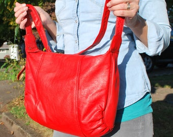 Vintage Bright Red Leather Purse Cross Body Shoulder Bag