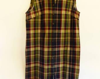 VTG 1980s PREPPY Madras Plaid Sheath Dress S/M