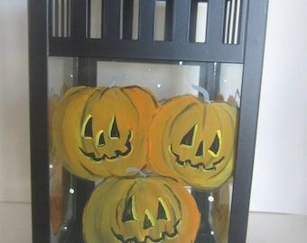 Halloween Jack-O-Lanterns  on a Black or White Metal Lantern