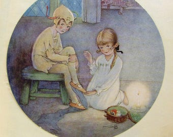 Lucie Mabel Attwell - Peter Pan and Wendy - Shadow sewing - JM Barrie - vintage 1920s book plate - circular print - childrens room decor