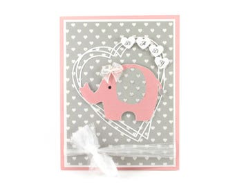 New baby card, New baby girl, pink elephant, new baby gift, baby shower card, baby shower card girl, Congratulations baby card