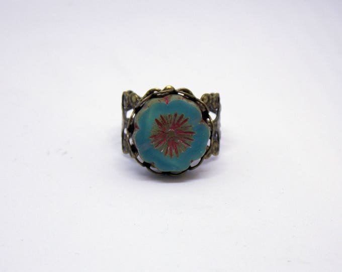 Czech Glass Hawaiian Flower Antique Style Adjustable Ring Victorian Renaissance Brass Rustic Filigree Statement Art Nouveau Ring