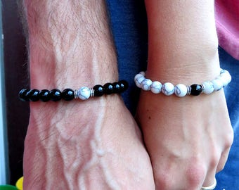Bracelets for the couple with black and white beads, bracelets, gift idea, gift couple, beaded bracelets, rubber band, him, for her,