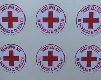 """Wedding Favor Sticker, Survival Kit Bag Stickers, Hangover Kit Labels, Hangover Kit Stickers, Survival Kit Labels, Wedding Favor Labels, 2"""""""