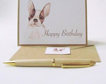 Cute Dog Birthday Card / French Bulldog Watercolor Birthday Card / Dog Lover Birthday Card