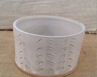 Medium / Large Dog Water or Food Bowl: Handmade Pottery, White Matte Glaze, Tan Clay Body - OOAK!