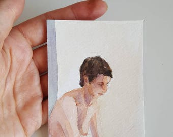 Nude woman  watercolor figure painting ACEO art