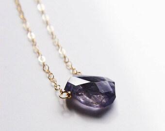 Blue Iolite Nugget Necklace 14k Gold