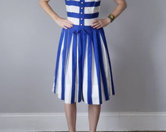 60s blue & white stripe dress pleated sleeveless sundress (s - m)