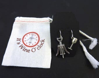 Wine Themed Earrings. STERLING Silver Ear Wire Wine O'clock Earrings  Corkscrew and Wine Glass Charms.  With Hand Decorated Muslin Bag