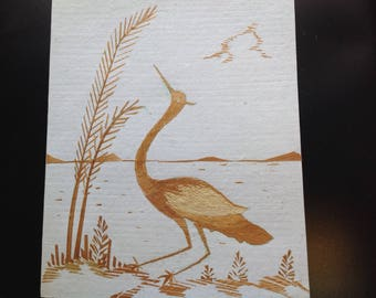 Handmade with rice straw, signed by artist.size 5X7 inches. Only one made.Hundreds of tiny pieces of rice leaves used to create unique art