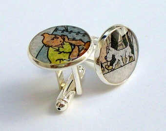 Tintin and Snowy - Cuff Links - Upcycled Classic Tintin and Snowy vintage comic book - Recycled into Silver Plated Cufflinks