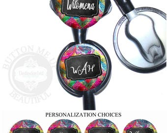 """1 1/2"""" Design Stethoscope ID Tag - Personalized Colorful Abstract Chalkboard Nurse Littmann Identification (A448)"""