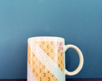 80s Pastel Patterned Mug / Retro Floral Quilt Pattern Mug / Pastel Floral Coffee Cup