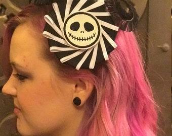 Jack Skellington Pinwheel Feather Hair clip