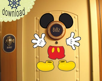 PRINT NOW! Mickey Ears and Body Disney Cruise Door Magnet Design - Use as Disney Cruise Door Decorations and Clip Art