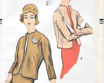Vogue 9263 UNCUT 1950s Easy to Make Fitted Jacket Vintage Sewing Pattern Size 14 Bust 34