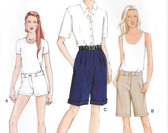 Vogue 7449 UNCUT Misses Shorts in Three Lengths Sewing Pattern Waist 28 to 32 Cuffed Shorts