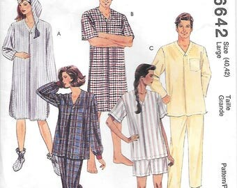 McCalls 6642 Mens and Womens Nightgown Pajamas and Nightcap Sewing Pattern Large Chest 40 to 42