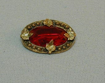 Victorian Red Stone Brass Collar Pin