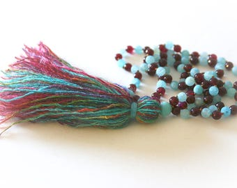 Gemstone Mala Beads. Turquoise and Garnet Agate Tassel Necklace. Bohemian Jewelry. Yoga Beads.