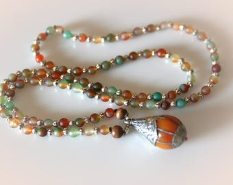 Harvest Agate Gemstone Necklace with Tibetan Pendant. Long Boho Beaded Necklace.