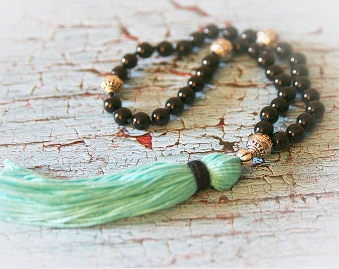 Black Onyx and Silver Pocket Mala with Turquoise Blue Cotton Tassel. 36 Beads. Yoga, Meditation, Prayer Beads