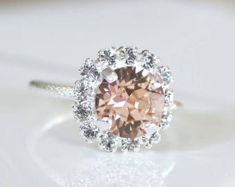 Antique Rose Swarovski Crystal With Halo Crystals on a Silver Adjustable Ring
