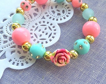 Tea party birthday, tea party bracelet, rose bracelet, kids birthday party, kids bracelet, vintage inspired birthday party. SET of TEN.