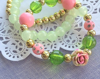 Stacking set bracelet, kids bracelet, stacking jewelry, Vintage inspired, Tea party birthday, tea party bracelet, SET of THREE.