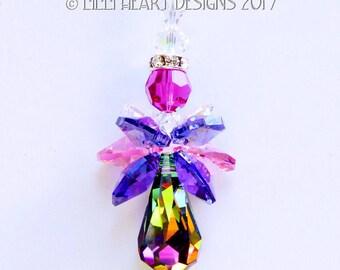 Suncatcher m/w Swarovski Crystal VERY RARE Retired Vitrail Medium Body Guardian Angel Fuchsia Pink and Purple by Lilli Heart Designs