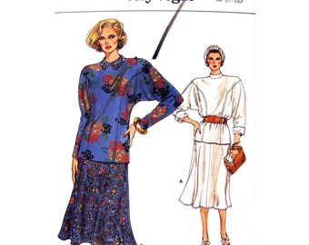 80s Loose Top & Flared Skirt Pattern Vogue 9402 Dolman Sleeve Tunic Womens Size 8 10 12 Vintage Sewing Pattern UNCUT