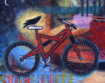 Colorful, Original, Acrylic, Whimsical Painting - Star Light, Star Bright, Let's Go On a Ride Tonight