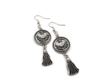 inventory clearance sale - NEW Dangling Tassel Round Thistle Earrings (SSNK142)