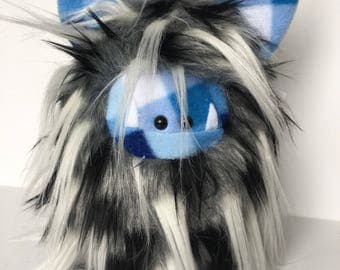 Stuffed Monster - Monster Plushie - Blue Monster Doll - Cuddly Boy Monster - Soft Toy Plush Monster - Fuzzling - Monster Softie - Handmade