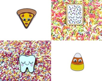 SECONDS SALE  - Pizza Pin - Pop Tart Pin - Candy Corn Pin - Sweet Tooth Pin - Cute Pins - Kawaii Pin - Cute Enamel Pin