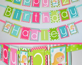 Under the Sea Mermaid Birthday Party Banner Fully Assembled Decorations | Mermaid Party | Under the Sea Birthday | Mermaid Pink Green Aqua