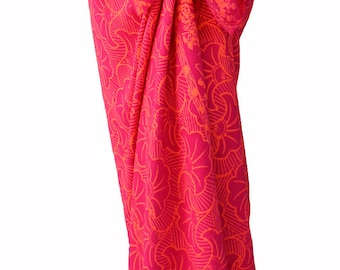 Beach Sarong Wrap Skirt Batik Pareo Gingko Leaf Sarong Cover Up Raspberry Pink & Orange Batik Sarong Swimwear - Long Wrap Skirt - Beachwear