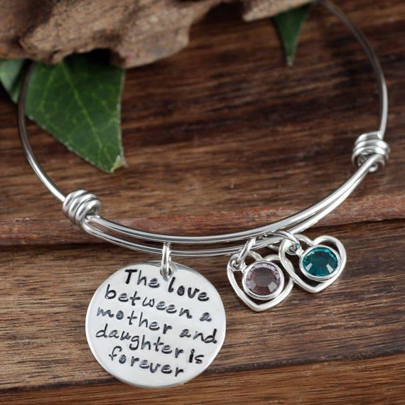 Gift for Mom, Mother's Bracelet, Perosnalized Bangle Bracelet, Birthstone Jewelry, Custom Mom Bracelet, Charm Bracelet, Mother's Day Gift