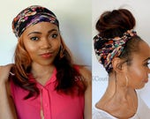 Satin Lined Wide Headband Wrap Black Water Colors Head Wrap Messy Bun Wrap