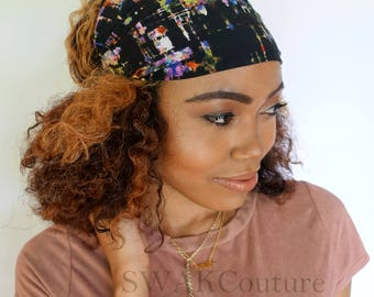 Satin Lined Wide Headband Wrap, Head Wraps for Women, Messy Bun Wrap - Water Colors #2 or Choose Your Color