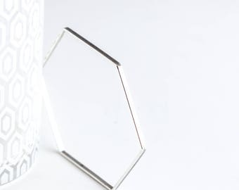 """Geometric silver bangle bracelet, minimalist design perfect for stacking, a contemporary piece that goes with everything - """"Hexagon Bangle"""""""