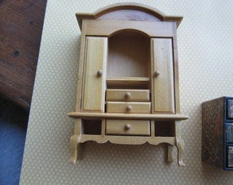 Dollhouse Decor Queen Anne Armoire with Three  Drawers & Two Doors. Lingerie Chest #99