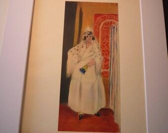 Vintage Print - Matisse - Spaniard in White Dress 1921 - Fine Art  Book Plate - art ephemera gift for art lovers modern art