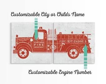 Custom Fire Truck - Firefighter Decor - Fireman Gift - Firetruck Decor - Fire Truck Baby - Custom Fire Engine - Firefighter Gift