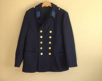 Rare Vintage Blue MILITARY Wool Coat / Double Breasted STURM German Military Jacket / Mens Small