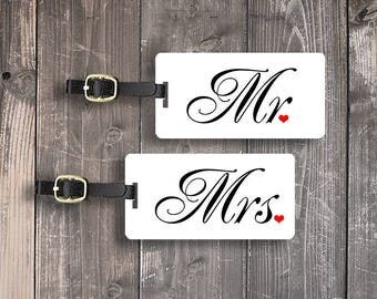 Mr and Mrs Custom Luggage Tag Set Personalized Back FULL Metal Tags Set
