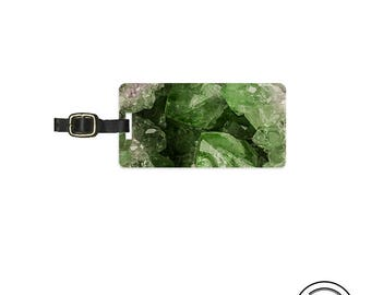 Luggage Tag Geode  Personalized Metal Tag, Single Tag  Custom information on Backs Choice of Straps Version 2