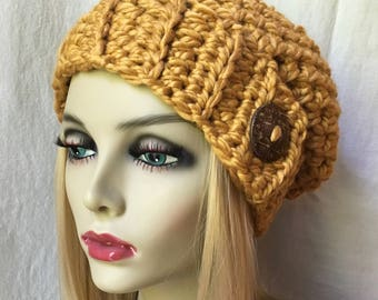 READY TO SHIP Large Crochet Womens Hat, Slouchy Beret, Honey, Gold, Soft Chunky Wool, Coconut Button, Gift for her, Winter, Ski Hat JE41BB1